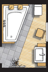 Badideen Grundriss Badezimmer mit Raumsparbadewanne