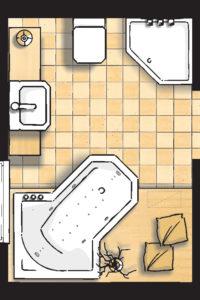 Badideen Grundriss Bad mit Badewanne und 5-Eck-Dusche