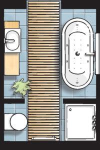 Badideen Grundriss Bad mit Dusche und Badewanne