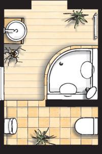 Badideen Grundriss Bad mit Viertelkreis-Dusche