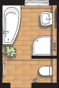 Badideen Grundriss Bad mit Badewanne und Dusche