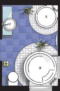 Badideen Grundriss Badezimmer mit Dusche und Whirlpool