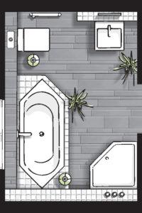 Badideen Grundriss Badezimmer mit 5-Eck-Dusche und Badewanne