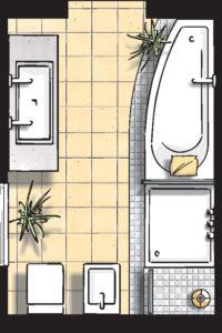 Badideen Grundriss Badezimmer mit Dusche und Raumsparbadewanne