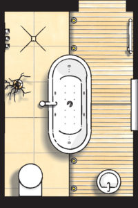 Badideen Grundriss Badezimmer mit Badewanne und Dusche