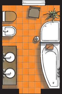Badideen Grundriss Bad mit Raumsparwanne und Dusche