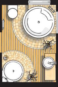 Badideen Grundriss Badezimmer mit Dusche und Whirlpool-Badewanne
