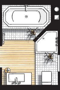 Badideen Grundriss Badezimmer mit Badewanne und 5-Eck-Dusche
