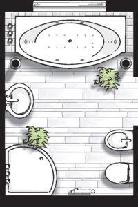 Badideen Grundriss Badezimmer mit Badewanne und Viertelkreis-Dusche
