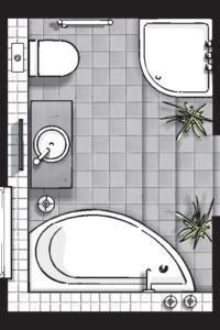 Badideen Grundriss Badezimmer mit Raumsparbadewanne und Viertelkreis-Dusche