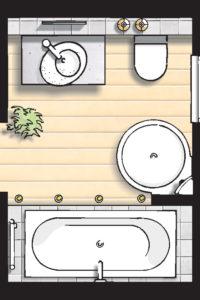 Badideen Grundriss Badezimmer mit Badewanne und Runddusche