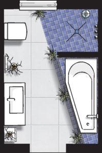 Badideen Grundriss Badezimmer mit Walk-In-Dusche und Eck-Badewanne