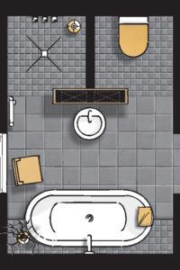 Badideen Grundriss Badezimmer mit Dusche und Badewanne