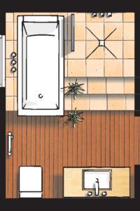 Badideen Grundriss Badezimmer mit Walk-In-Dusche und Badewanne