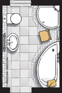 Badideen Grundriss Badezimmer mit Viertelkreis-Dusche und Raumsparbadewanne