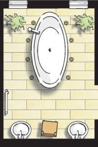Badideen Grundriss Badezimmer mit freistehender Badewanne