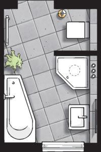Badideen Grundriss Badezimmer mit 5-Eck-Dusche und Eck-Badewanne