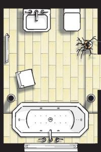 Badideen Grundriss Badezimmer mit Badewanne mit Whirlpoolfunktionen