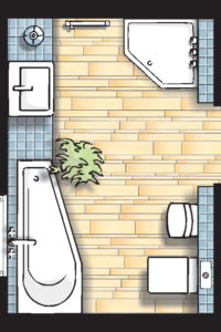 Badideen Grundriss Badezimmer mit Raumsparbadewanne und 5-Eck-Dusche