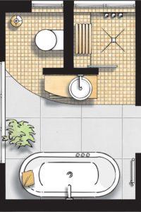 Badideen Grundriss Badezimmer mit Badewanne und Walk-In-Dusche