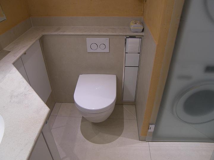 waschmaschine und trockner im minibad. Black Bedroom Furniture Sets. Home Design Ideas