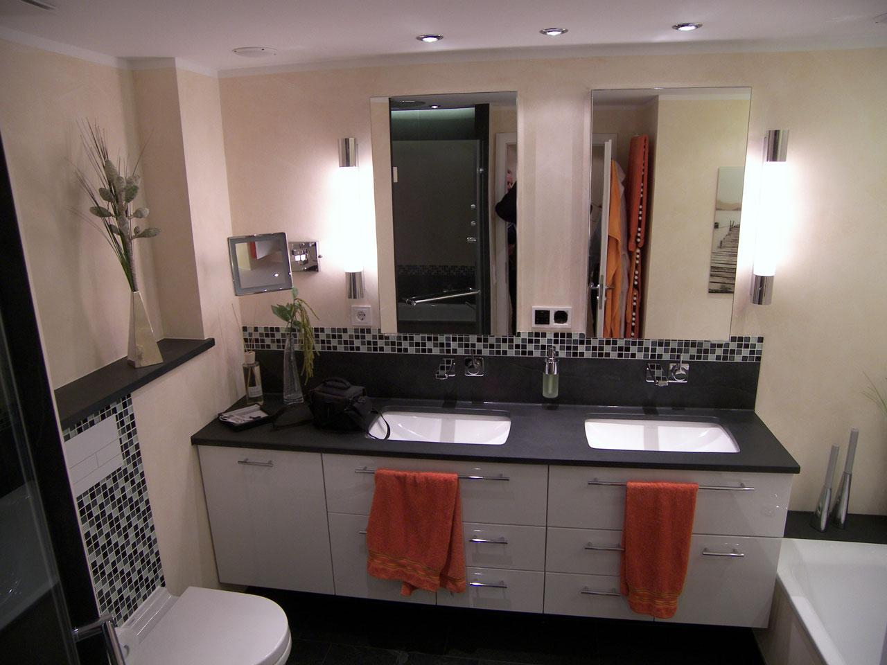 Badezimmer Akzente Stauraum Beleuchtung