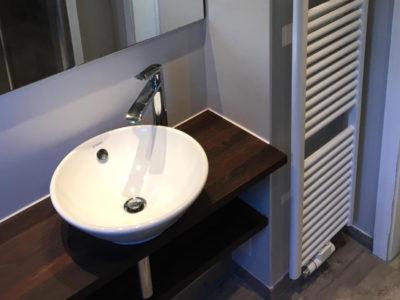 Holzwaschtischplatte Waschbecken rund