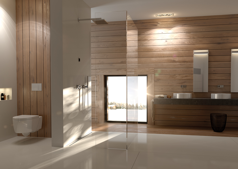 Luxusbad mit Holzverkleidung