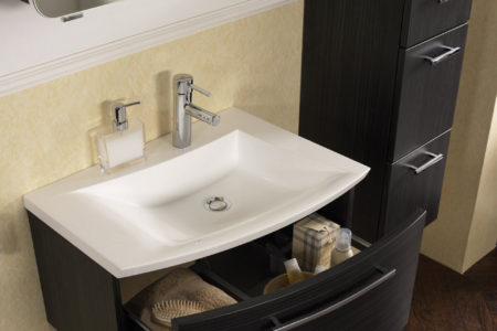 Minibad Waschtisch Hängeschrank Stauraum